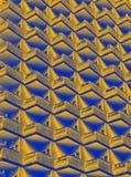 abstrakcjonistyczny duotone błękita i koloru żółtego wizerunek wielki mieszkaniowy highrise budynek z geometrycznymi rzędami balk fotografia royalty free