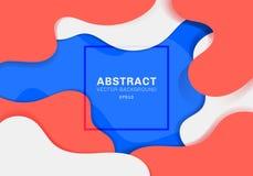 Abstrakcjonistyczny dynamiczny 3D fluid kształtuje nowożytnego pojęcia koloru wibrującego tło błękitni, biali i czerwoni elementy ilustracji