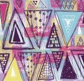 Abstrakcjonistyczny etniczny bezszwowy wzór w stylu pierwotna kultura Etniczny wektorowy tło Grunge tło Trójboka wzór Zdjęcie Royalty Free