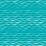 Abstrakcjonistyczny fala wektoru bezszwowy wzór Faliste linie morza lub oceanu błękita ręka rysujący tło Fotografia Stock