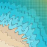 Abstrakcjonistyczny falisty papieru cięcia plaży i wody tło ilustracji