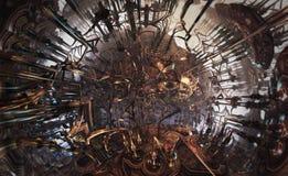 Abstrakcjonistyczny fantastyczny plakat lub tło Futurystyczny widok from inside fractal Sfera łącząca drymbami Zdjęcia Royalty Free