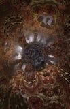 Abstrakcjonistyczny fantastyczny plakat lub tło Futurystyczny widok from inside fractal Fotografia Stock