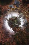 Abstrakcjonistyczny fantastyczny plakat lub tło Futurystyczny widok from inside fractal Zdjęcie Royalty Free