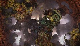 Abstrakcjonistyczny fantastyczny plakat lub tło Futurystyczny widok from inside fractal Zdjęcia Stock