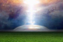 Abstrakcjonistyczny fantastyczny tło - światło reflektorów od ufo Obraz Stock