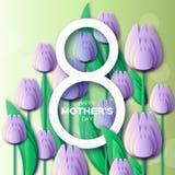 Abstrakcjonistyczny Fiołkowy Kwiecisty kartka z pozdrowieniami 8 May- z wiązką wiosna tulipany - Szczęśliwy matka dzień - Fotografia Royalty Free