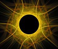 Abstrakcjonistyczny fractal tło z słońca zaćmieniem lub czarną dziurą Zdjęcia Stock