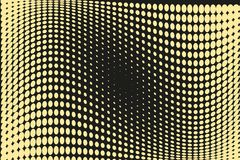 Abstrakcjonistyczny futurystyczny halftone wzór Komiczny tło Kropkowany tło z okręgami, kropki, wskazuje wielką skala Czerń, żółt Obraz Stock