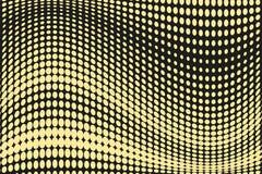 Abstrakcjonistyczny futurystyczny halftone wzór Komiczny tło Kropkowany tło z okręgami, kropki, wskazuje wielką skala Czerń, żółt Zdjęcie Stock