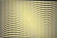 Abstrakcjonistyczny futurystyczny halftone wzór Komiczny tło Kropkowany tło z okręgami, kropki, wskazuje wielką skala Czerń, żółt Obraz Royalty Free