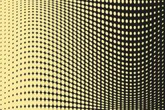 Abstrakcjonistyczny futurystyczny halftone wzór Komiczny tło Kropkowany tło z okręgami, kropki, wskazuje wielką skala Czerń, żółt Zdjęcia Royalty Free