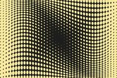 Abstrakcjonistyczny futurystyczny halftone wzór Komiczny tło Kropkowany tło z okręgami, kropki, wskazuje wielką skala Czerń, żółt Obrazy Royalty Free