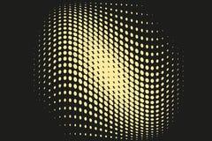 Abstrakcjonistyczny futurystyczny halftone wzór Komiczny tło Kropkowany tło z okręgami, kropki, wskazuje wielką skala Czerń, żółt Zdjęcie Royalty Free
