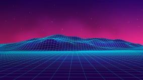 Abstrakcjonistyczny futurystyczny krajobrazowy 1980s styl Wektorowy ilustraci 80s przyjęcia tło 80s fantastyka naukowa Retro tło royalty ilustracja