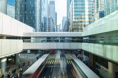 Abstrakcjonistyczny futurystyczny pejzażu miejskiego widok hong kong Zdjęcie Royalty Free