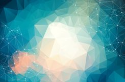 Abstrakcjonistyczny futurystyczny tło z, cząsteczkowe cząsteczki, atomy, i, poligonalna liniowa cyfrowa tekstura, technologiczna ilustracja wektor