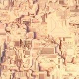 Abstrakcjonistyczny futurystyczny techno wzór Cyfrowego 3d ilustracja Obrazy Royalty Free