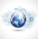 Abstrakcjonistyczny futurystyczny światowy technologii sieci biznesu backgroun Zdjęcia Royalty Free