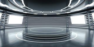 Abstrakcjonistyczny futurystyczny wnętrze z jarzyć się panel royalty ilustracja