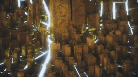 Abstrakcjonistyczny futurystyczny złocisty miasto ilustracji