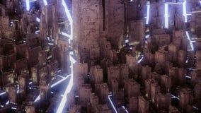 Abstrakcjonistyczny futurystyczny złocisty miasto ilustracja wektor
