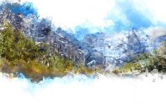 Abstrakcjonistyczny góra krajobraz na białym tle royalty ilustracja