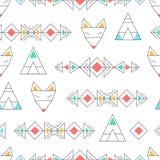 Abstrakcjonistyczny geometryczny bezszwowy wektoru wzór z lisami Obrazy Royalty Free