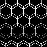 abstrakcjonistyczny geometryczny deseniowy bezszwowy Czarno biały postacie sześciokąty Obraz Stock