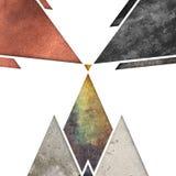 Abstrakcjonistyczny geometryczny góry tła projekt Geometryczni kształty z naturalną teksturą Retro etykietka projekt, printable Obraz Royalty Free