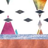 Abstrakcjonistyczny geometryczny góry tła projekt z chmurami Geometryczni kształty z naturalną teksturą Retro etykietka projekt,  Zdjęcie Royalty Free