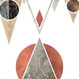 Abstrakcjonistyczny geometryczny halny tło projekt Geometryczni kształty z naturalną teksturą Retro etykietka projekt, printable Obraz Stock