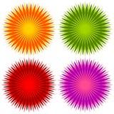 Abstrakcjonistyczny geometryczny kwiat kształtuje, elementy Ustawiający 4 koloru royalty ilustracja