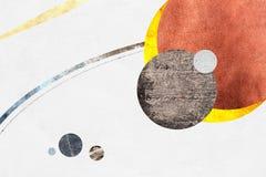 Abstrakcjonistyczny geometryczny planety tła projekt Geometryczni kształty z naturalną teksturą Retro etykietka projekt, printabl Zdjęcie Royalty Free