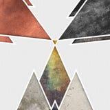 Abstrakcjonistyczny geometryczny projekt z szarym tłem Geometryczni kształty z naturalną teksturą Retro etykietka projekt, printa Obraz Royalty Free