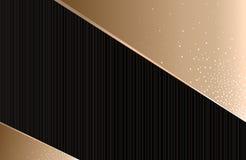 Abstrakcjonistyczny geometryczny tło czarny z złotem, horyzontalny, royalty ilustracja