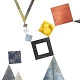Abstrakcjonistyczny geometryczny tło projekt Geometryczni kształty z naturalną teksturą Retro etykietka projekt, printable Zdjęcia Stock