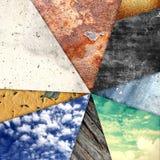 Abstrakcjonistyczny geometryczny tło projekt Geometryczni kształty z naturalną teksturą Retro etykietka projekt, printable Zdjęcie Stock