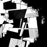 Abstrakcjonistyczny geometryczny tło, monochromatyczny atramentu rysunek Zdjęcia Royalty Free