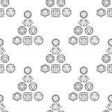 Abstrakcjonistyczny geometryczny tło, siedem ludzkich chakras Fotografia Royalty Free
