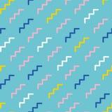 Abstrakcjonistyczny Geometryczny wektoru wzór Retro Memphis styl Menchie, kolor żółty, marynarki wojennej błękit i biel elementy, ilustracja wektor