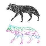 Abstrakcjonistyczny geometryczny wilk ustawia odosobnionego na białym tle dla use w projekcie royalty ilustracja