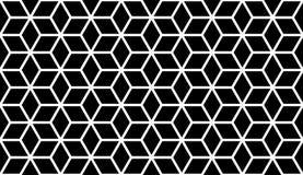 Abstrakcjonistyczny geometryczny wzór z liniami, sześciany, sześciokąty, rhombus tło bezszwowy wektora Tatuażu wzór Czarny i biał Zdjęcie Royalty Free