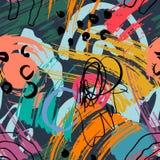 Abstrakcjonistyczny geometryczny wz?r z falistymi liniami Doodle backgrounded t?o bezszwowy wektora royalty ilustracja