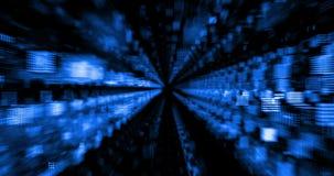 Abstrakcjonistyczny gradientowy błękitny tło z bokeh i cząsteczki płynie z promienia światłem, ilustracji