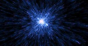 Abstrakcjonistyczny gradientowy błękitny promienia światła tła spływanie jak energia od centrum, nauka i ilustracji