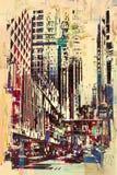 Abstrakcjonistyczny grunge pejzaż miejski Obraz Royalty Free