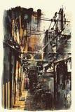 Abstrakcjonistyczny grunge pejzaż miejski Obraz Stock