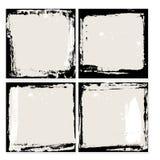 Abstrakcjonistyczny grunge ramy set Czarny i beżowy tło szablon wektor Obraz Stock