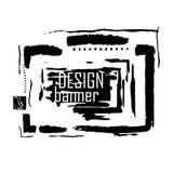 Abstrakcjonistyczny grunge stylu wektoru sztandar Czarna farba, atramentu rysunek, muśnięć uderzenia, markier, ołówek, szczotkuje royalty ilustracja